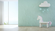 White Toy Unicorn On Wooden Floor Of Sea View Kids Room With Empty Rough Blue Concrete Texture Wall Background In Luxury Summer Beach House Or Vacation Home. Modern Design Interior 3d Illustration.