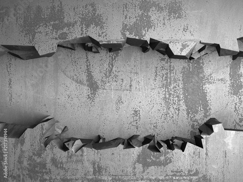 Dark cracked broken hole in concrete wall. Grunge background - 217314944