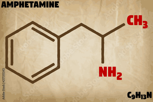 Photo Detailed infographic illustration of the molecule of Amphetamine.