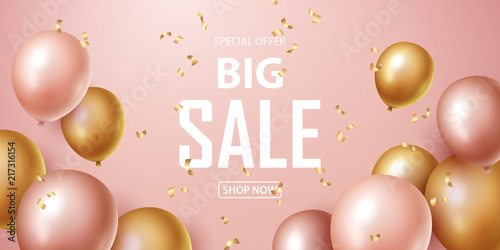Fotografia Sale banner with pink and gold floating balloons