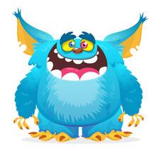 Happy Cartoon Monster Smiling. Halloween Vector Blue Monster
