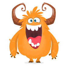 Happy Cartoon Monster. Halloween Vector Orange And Horned Monster.