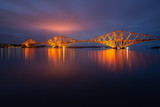 Evening view Forth Bridge, railway bridge over Firth of Forth near Queensferry in Scotland