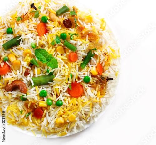 Vegetable Pulao / Mixed  Veg Biryani isolated on white overhead view