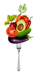 Fototapetaillustration with a fork and vegetables on a white background
