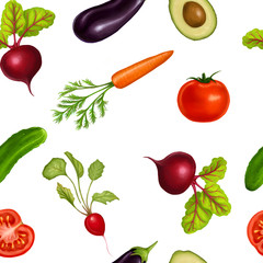 Fototapetaseamless pattern with realistic vegetables