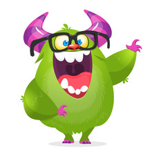 Cartoon Green Monster Scientist Wearing Glasses. Vector Illustration Isolated