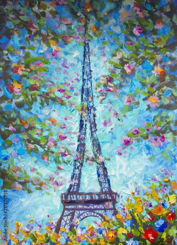 obraz-olej-wieza-eiffla-na-wiosne-otoczona-kolorowymi-kwiatami