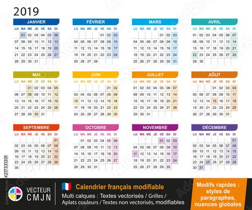 Calendrier Francais 2019.Calendrier Francais 2019 Modifiable Buy This Stock Vector