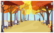 Walkway In City Park With Autumn Trees, Benches And Lanterns. Cityscape, Recreation Area. Flat Style Vector Illustration. For Leaflets, Brochures, Wallpapers, Posters Or Banners.