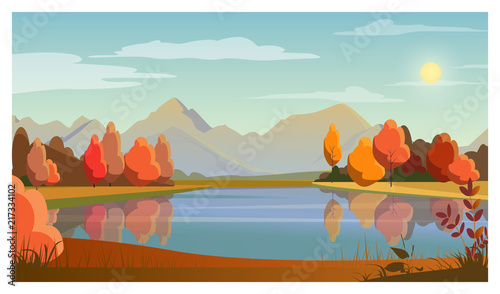 Landscape with lake, trees, sun and mountains in background. Nature, autumn concept. Flat style vector illustration. For leaflets, brochures, wallpapers, posters or banners.