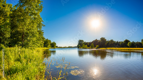 Foto op Aluminium Rivier Summer landscape with trees, meadows, river and bright sun