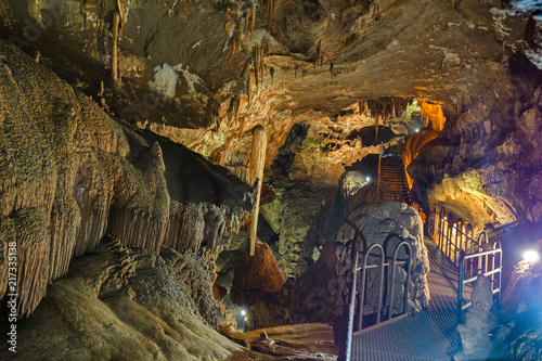 Fotobehang Kuala Lumpur Rock formations of stalactites and stalagmites inside the cave of