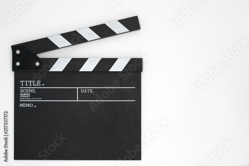 Photo Clapper board on white background