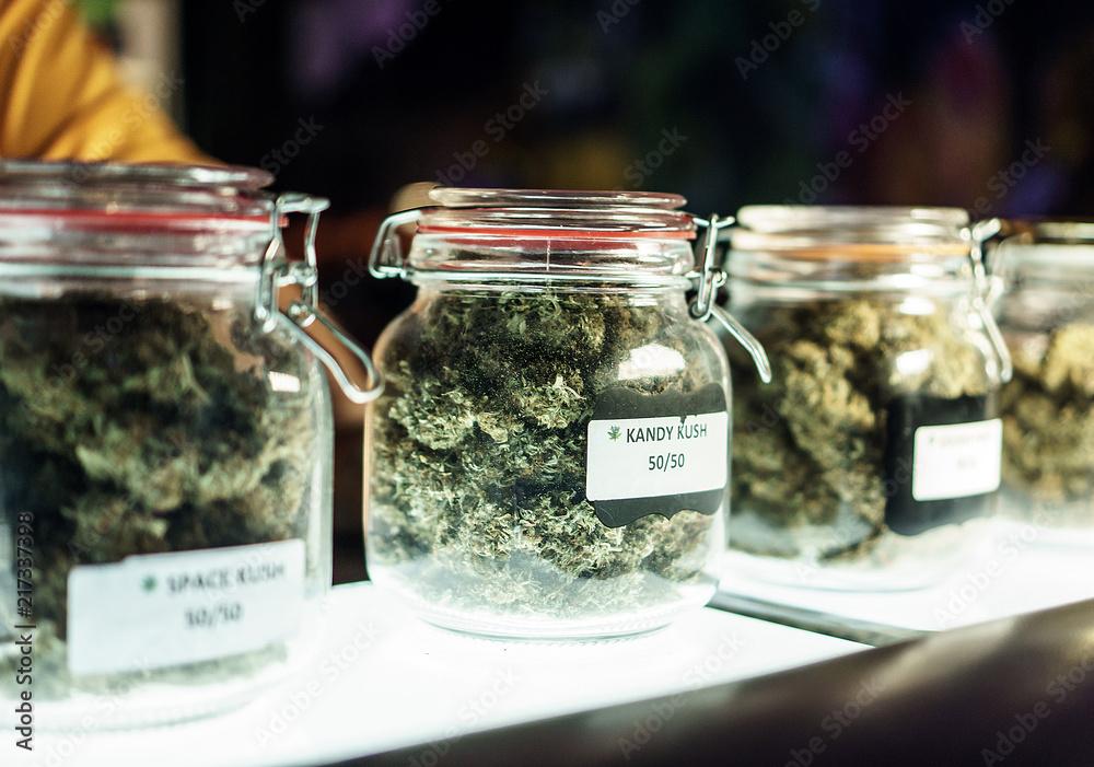Fototapety, obrazy: Jars Of Cannabis Flowers