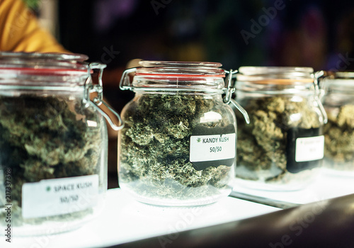 In de dag Apotheek Jars Of Cannabis Flowers