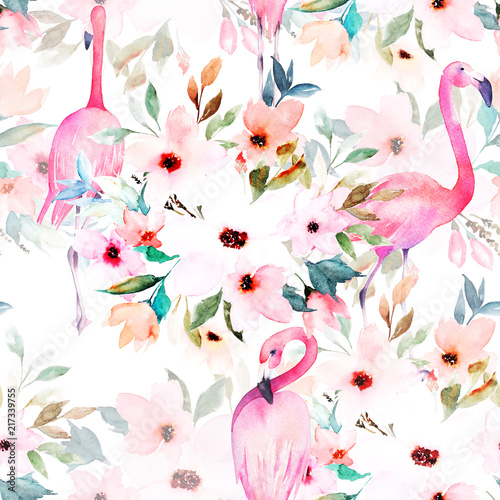 Spoed Foto op Canvas Kunstmatig Watercolor seamless pattern. Floral print with flamingo.