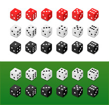 Set Of Vector Dice On Different Backgrounds