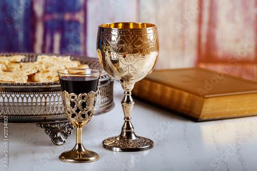 Fotografie, Obraz  Holy communion on wooden table on church