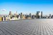 empty square with city skyline