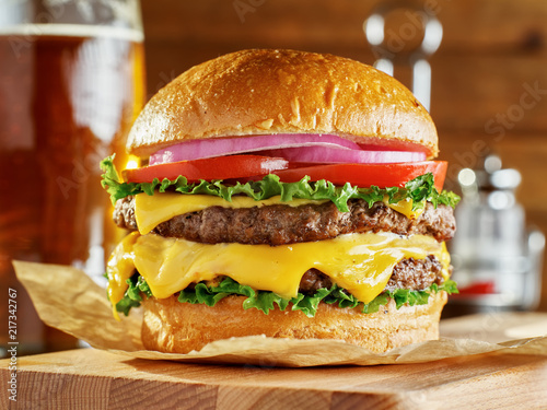 double cheese burger with beer Canvas Print