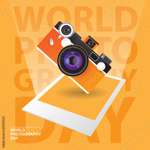 Fotografering Happy World Photography Day with vintage camera concept