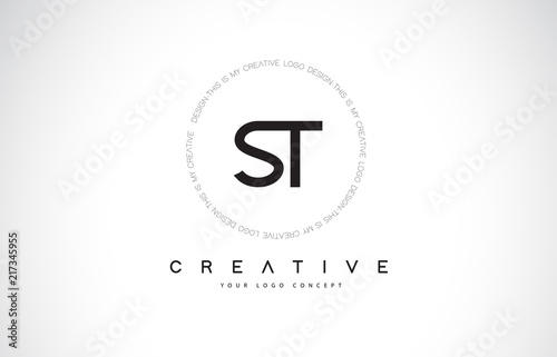 St S T Logo Design With Black And White Creative Text Letter