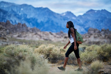 Fit African American Woman Hiking Through Alabama Hills Park In California