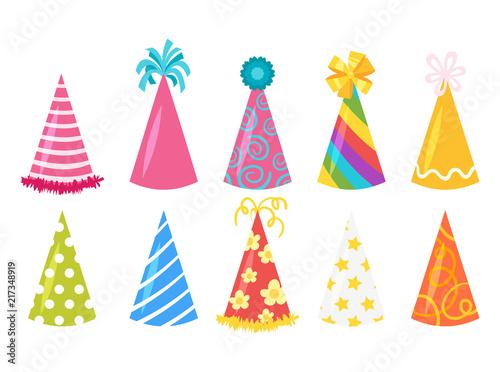 Obraz na plátně festive cone hats set