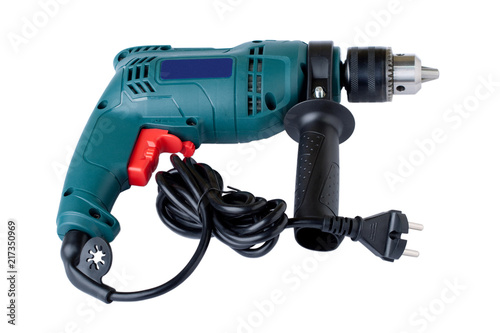 Obraz Electric drill on white background - fototapety do salonu