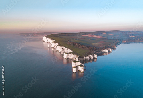 Foto auf Leinwand Grau Old Harry Rocks a Natural Chalk Coastal Feature of England