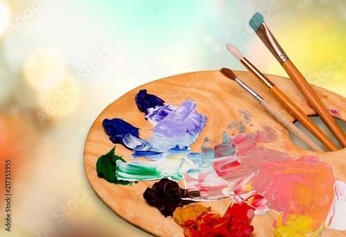 Wooden art palette with blobs of paint Billede på lærred