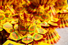 Chinese Traditional Religious Practices, Zhongyuan Purdue, Chinese Ghost Festival, Lotus And Rosettes Offering Sacrifices To Ghosts And Gods