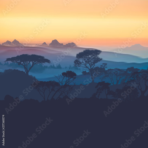 Poster Turquoise 3D illustration. Beautiful landscape during sunset.