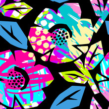 Seamless Summer Tropical Flowers Pattern, Textile Doodle Grunge Texture.
