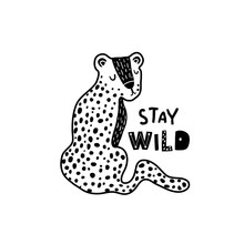 Cute Hand Drawn Leopard In Black And White Style. Cartoon Vector Illustration In Scandinavian Style
