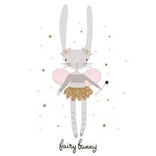 Cute Cartoon Bunny Fairy. Rabb...
