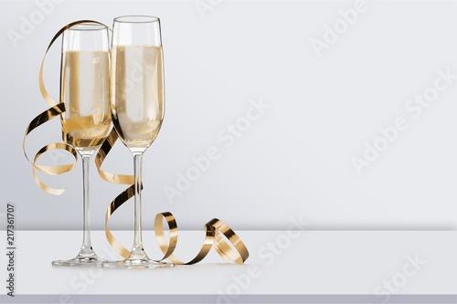Full glasses of champagne close up. Fototapeta