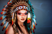 Beautiful Young Woman With Big American Indian Plume Of Feathers