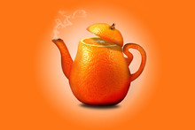 Orange Tea Kettle With A Hot D...