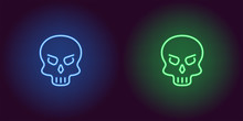 Human Neon Skull In Blue And Green Color