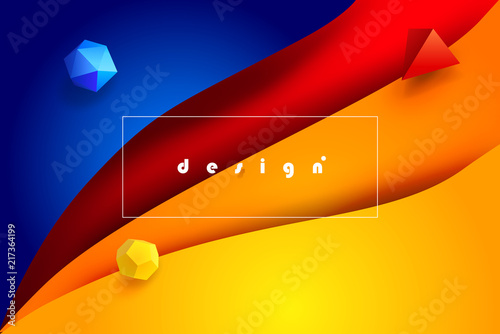 Abstract Colorful Modern 3D Design Wallpaper Blue Yellow Red Color Cutting Paper