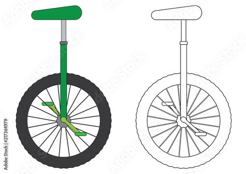 La pose en embrasure Velo Unicycle, coloring page. Vector illustration.