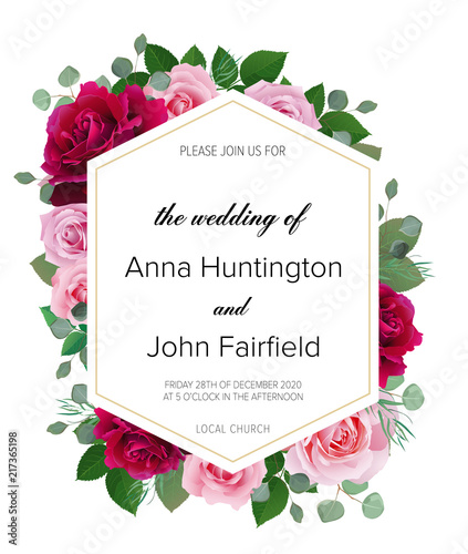 Red And Pink Wedding Invitations: Wedding Floral Invitation, Save The Date Card Design With