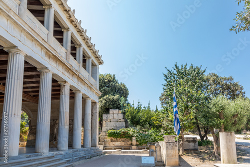 Foto op Plexiglas Historisch geb. Portique d'Attale, Agora antique à Athènes