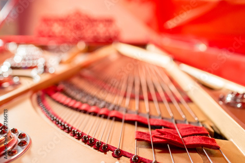 Strings inside a red grand piano Fototapet