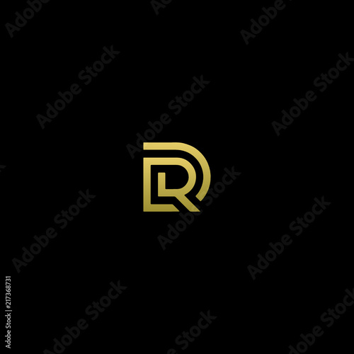 Canvas Print Modern creative elegant DR black and gold color initial based letter icon logo