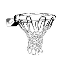 Vector Engraved Style Illustration For Posters, Decoration And Print. Hand Drawn Sketch Of Basketball Ring In Black Isolated On White Background. Detailed Vintage Etching Style Drawing.