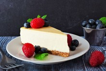 Slice Of Cheesecake With Blueb...