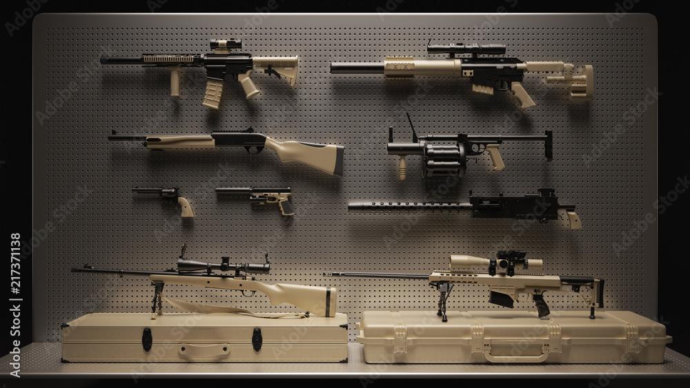 Fototapeta Tan Firearms Display 3d Illustration 3d Rendering